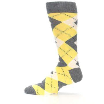 Image of Sunbeam Yellow Gray Argyle Men's Dress Socks (side-2-12)
