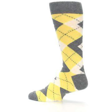 Image of Sunbeam Yellow Gray Argyle Men's Dress Socks (side-2-13)