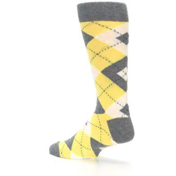 Image of Sunbeam Yellow Gray Argyle Men's Dress Socks (side-2-back-14)