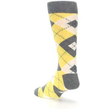 Image of Sunbeam Yellow Gray Argyle Men's Dress Socks (side-2-back-15)