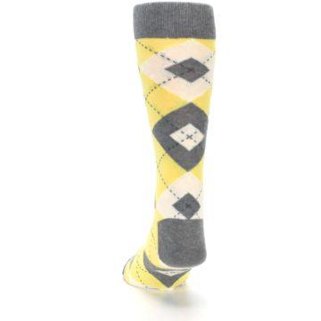 Image of Sunbeam Yellow Gray Argyle Men's Dress Socks (back-17)