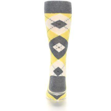 Image of Sunbeam Yellow Gray Argyle Men's Dress Socks (back-18)
