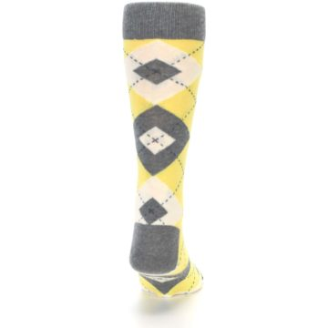 Image of Sunbeam Yellow Gray Argyle Men's Dress Socks (back-19)