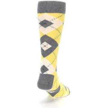 Image of Sunbeam Yellow Gray Argyle Men's Dress Socks (side-1-back-20)