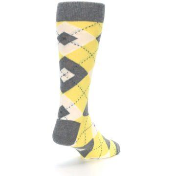 Image of Sunbeam Yellow Gray Argyle Men's Dress Socks (side-1-back-21)