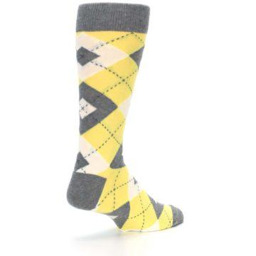 Image of Sunbeam Yellow Gray Argyle Men's Dress Socks (side-1-back-22)