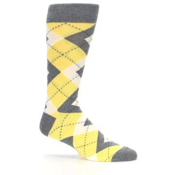 Image of Sunbeam Yellow Gray Argyle Men's Dress Socks (side-1-25)