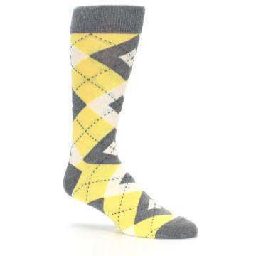 Image of Sunbeam Yellow Gray Argyle Men's Dress Socks (side-1-26)