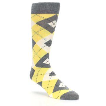 Image of Sunbeam Yellow Gray Argyle Men's Dress Socks (side-1-27)