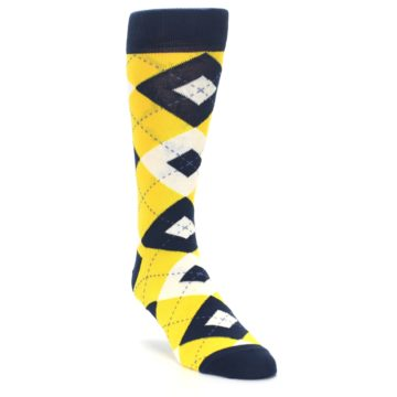 Image of Golden Yellow Navy Argyle Men's Dress Socks (side-1-front-02)