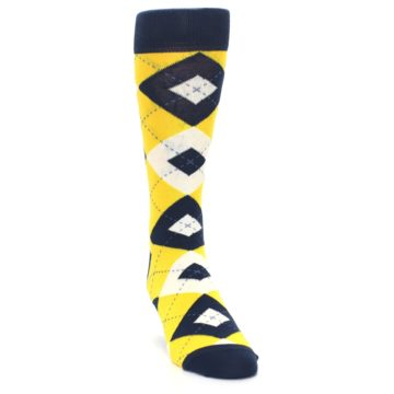 Image of Golden Yellow Navy Argyle Men's Dress Socks (side-1-front-03)