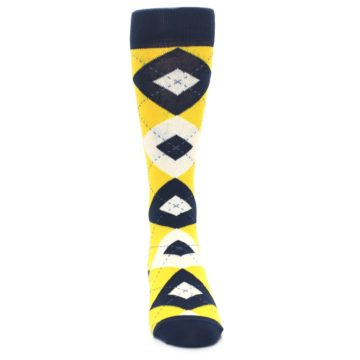 Image of Golden Yellow Navy Argyle Men's Dress Socks (front-04)