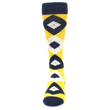 Image of Golden Yellow Navy Argyle Men's Dress Socks (front-05)