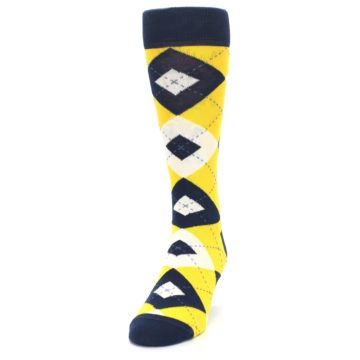 Image of Golden Yellow Navy Argyle Men's Dress Socks (side-2-front-06)