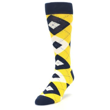 Image of Golden Yellow Navy Argyle Men's Dress Socks (side-2-front-07)