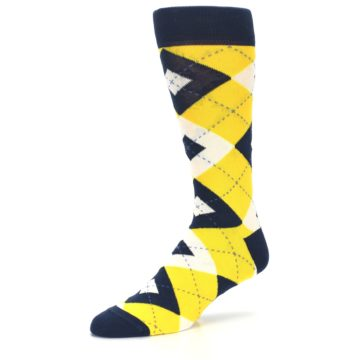 Image of Golden Yellow Navy Argyle Men's Dress Socks (side-2-09)