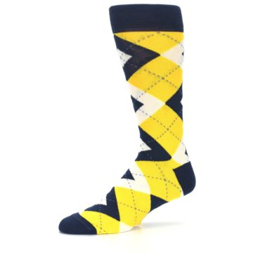 Image of Golden Yellow Navy Argyle Men's Dress Socks (side-2-10)