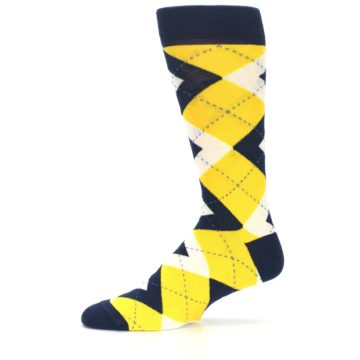 Image of Golden Yellow Navy Argyle Men's Dress Socks (side-2-11)