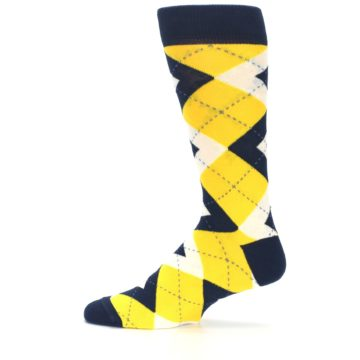 Image of Golden Yellow Navy Argyle Men's Dress Socks (side-2-12)