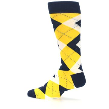 Image of Golden Yellow Navy Argyle Men's Dress Socks (side-2-13)