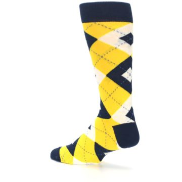 Image of Golden Yellow Navy Argyle Men's Dress Socks (side-2-back-14)