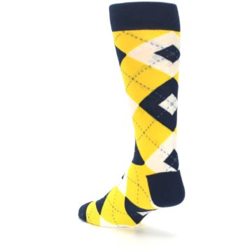Image of Golden Yellow Navy Argyle Men's Dress Socks (side-2-back-15)