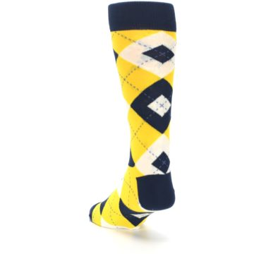 Image of Golden Yellow Navy Argyle Men's Dress Socks (side-2-back-16)