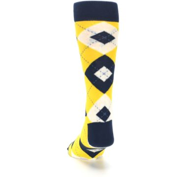 Image of Golden Yellow Navy Argyle Men's Dress Socks (back-17)