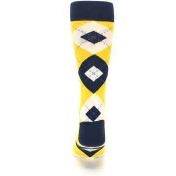 Image of Golden Yellow Navy Argyle Men's Dress Socks (back-18)