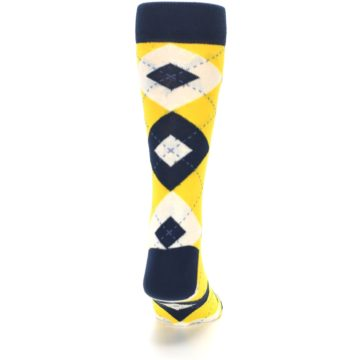 Image of Golden Yellow Navy Argyle Men's Dress Socks (back-19)