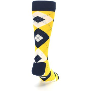 Image of Golden Yellow Navy Argyle Men's Dress Socks (side-1-back-20)