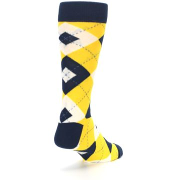 Image of Golden Yellow Navy Argyle Men's Dress Socks (side-1-back-21)