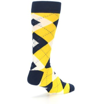 Image of Golden Yellow Navy Argyle Men's Dress Socks (side-1-back-22)
