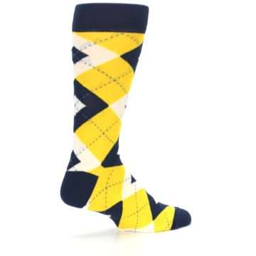 Image of Golden Yellow Navy Argyle Men's Dress Socks (side-1-23)