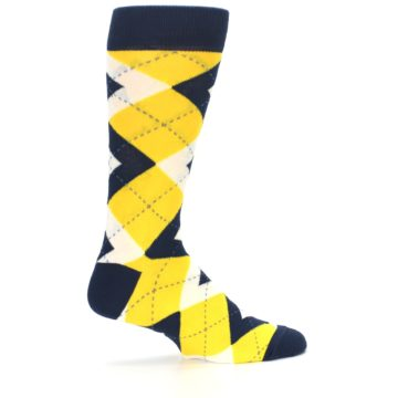Image of Golden Yellow Navy Argyle Men's Dress Socks (side-1-24)