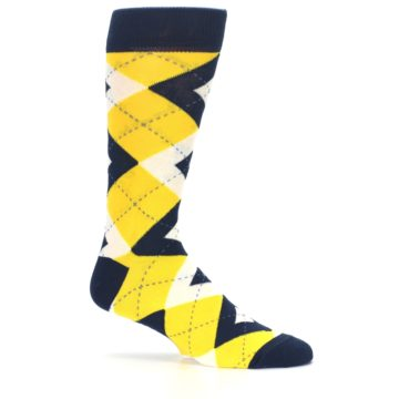 Image of Golden Yellow Navy Argyle Men's Dress Socks (side-1-25)