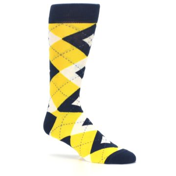Image of Golden Yellow Navy Argyle Men's Dress Socks (side-1-26)