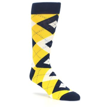 Image of Golden Yellow Navy Argyle Men's Dress Socks (side-1-27)