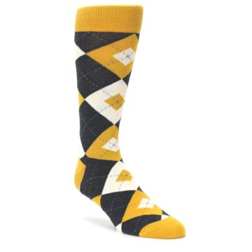 Mustard Yellow Grey Argyle Mens Dress Statement Sockwear