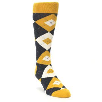 Image of Mustard Yellow Grey Argyle Men's Dress Socks (side-1-front-02)