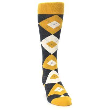Image of Mustard Yellow Grey Argyle Men's Dress Socks (side-1-front-03)