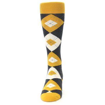 Image of Mustard Yellow Grey Argyle Men's Dress Socks (front-05)