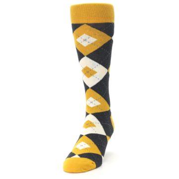 Image of Mustard Yellow Grey Argyle Men's Dress Socks (side-2-front-06)