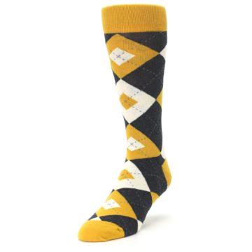 Image of Mustard Yellow Grey Argyle Men's Dress Socks (side-2-front-07)