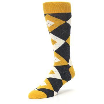 Image of Mustard Yellow Grey Argyle Men's Dress Socks (side-2-front-08)