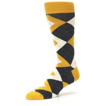 Image of Mustard Yellow Grey Argyle Men's Dress Socks (side-2-09)