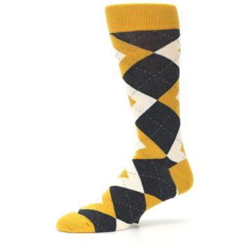 Image of Mustard Yellow Grey Argyle Men's Dress Socks (side-2-10)