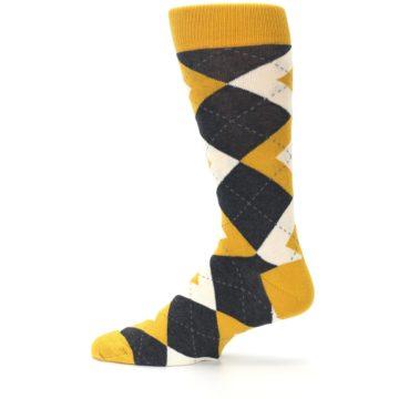 Image of Mustard Yellow Grey Argyle Men's Dress Socks (side-2-12)