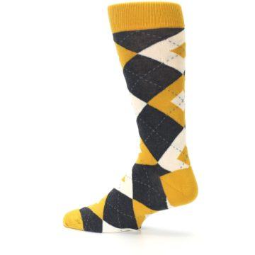 Image of Mustard Yellow Grey Argyle Men's Dress Socks (side-2-13)