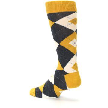 Image of Mustard Yellow Grey Argyle Men's Dress Socks (side-2-back-14)